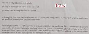 """la""""compliance notice"""" que lui a servie la mairie de Port-Louis le 10 juillet dernier"""
